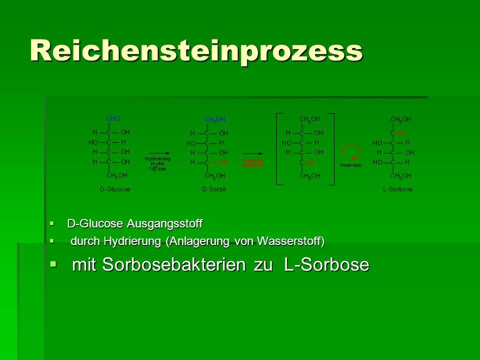 Reichensteinprozess D-Glucose Ausgangsstoff D-Glucose Ausgangsstoff durch Hydrierung (Anlagerung von Wasserstoff) durch Hydrierung (Anlagerung von Was