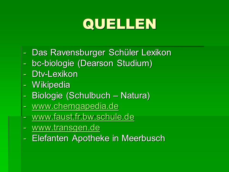 QUELLEN -Das Ravensburger Schüler Lexikon -bc-biologie (Dearson Studium) -Dtv-Lexikon -Wikipedia -Biologie (Schulbuch – Natura) -www.chemgapedia.de ww