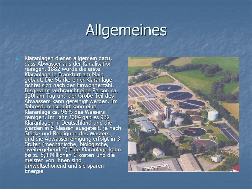 Allgemeines Kläranlagen dienen allgemein dazu, dass Abwasser aus der Kanalisation reinigen.