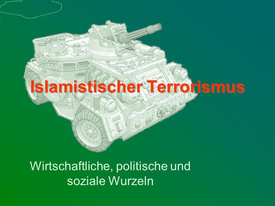 ThemenThemen Erklärungsversuch Terror Inhalt des Islamismus Anführer des Terrors Ursachen des islamistischen Terrors –Politische Ursachen Das politische Herrschaftssystem Modernisierung ohne Verwestlichung Politische System = Brutstätte des Terrors –Soziökonomische Ursachen Endogene und exogene Faktoren