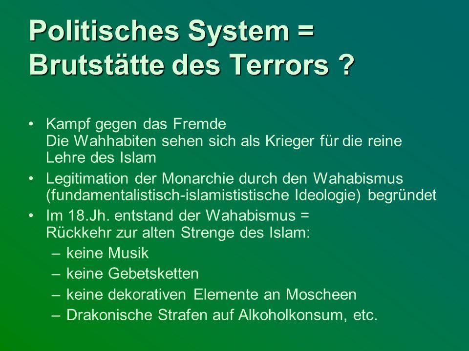 Politisches System = Brutstätte des Terrors ? Kampf gegen das Fremde Die Wahhabiten sehen sich als Krieger für die reine Lehre des Islam Legitimation