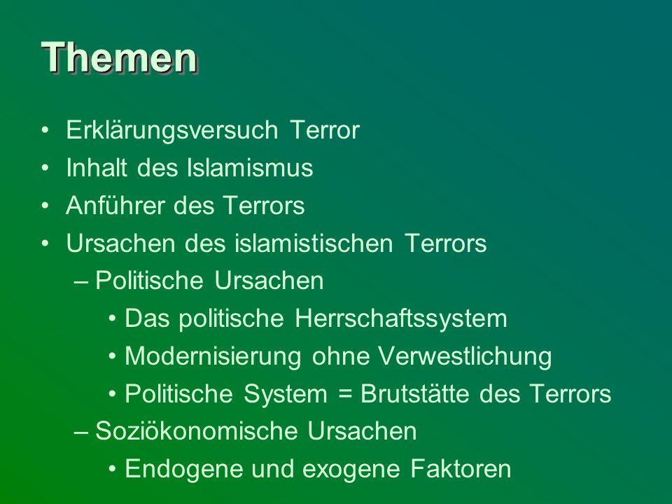 ThemenThemen Erklärungsversuch Terror Inhalt des Islamismus Anführer des Terrors Ursachen des islamistischen Terrors –Politische Ursachen Das politisc