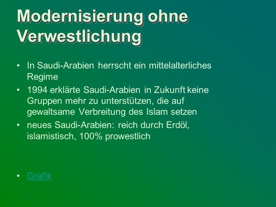 Modernisierung ohne Verwestlichung In Saudi-Arabien herrscht ein mittelalterliches Regime 1994 erklärte Saudi-Arabien in Zukunft keine Gruppen mehr zu