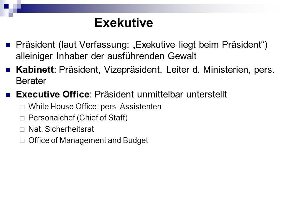 Präsident (laut Verfassung: Exekutive liegt beim Präsident) alleiniger Inhaber der ausführenden Gewalt Kabinett: Präsident, Vizepräsident, Leiter d. M