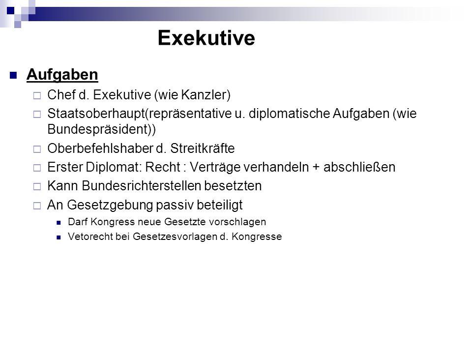 Aufgaben Chef d. Exekutive (wie Kanzler) Staatsoberhaupt(repräsentative u. diplomatische Aufgaben (wie Bundespräsident)) Oberbefehlshaber d. Streitkrä