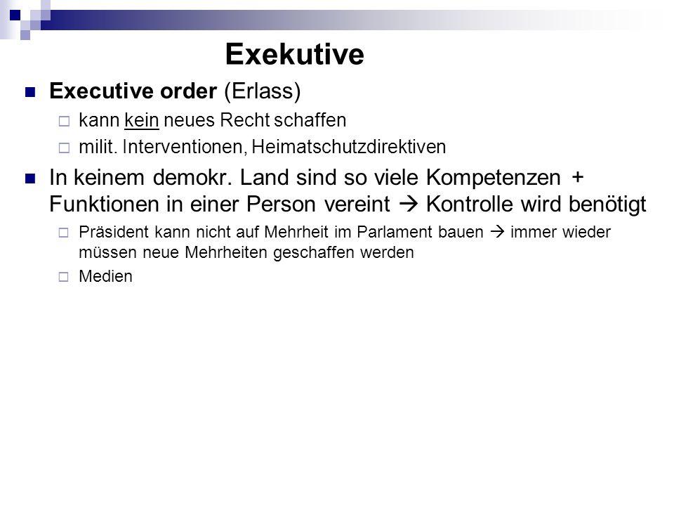 Executive order (Erlass) kann kein neues Recht schaffen milit. Interventionen, Heimatschutzdirektiven In keinem demokr. Land sind so viele Kompetenzen