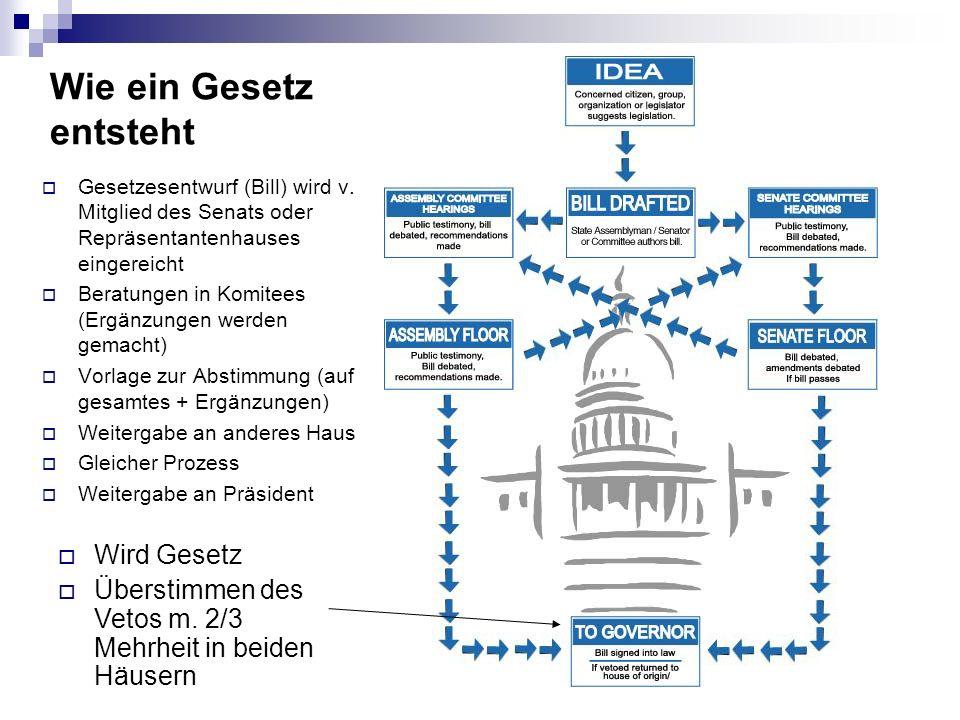 Wie ein Gesetz entsteht Gesetzesentwurf (Bill) wird v. Mitglied des Senats oder Repräsentantenhauses eingereicht Beratungen in Komitees (Ergänzungen w
