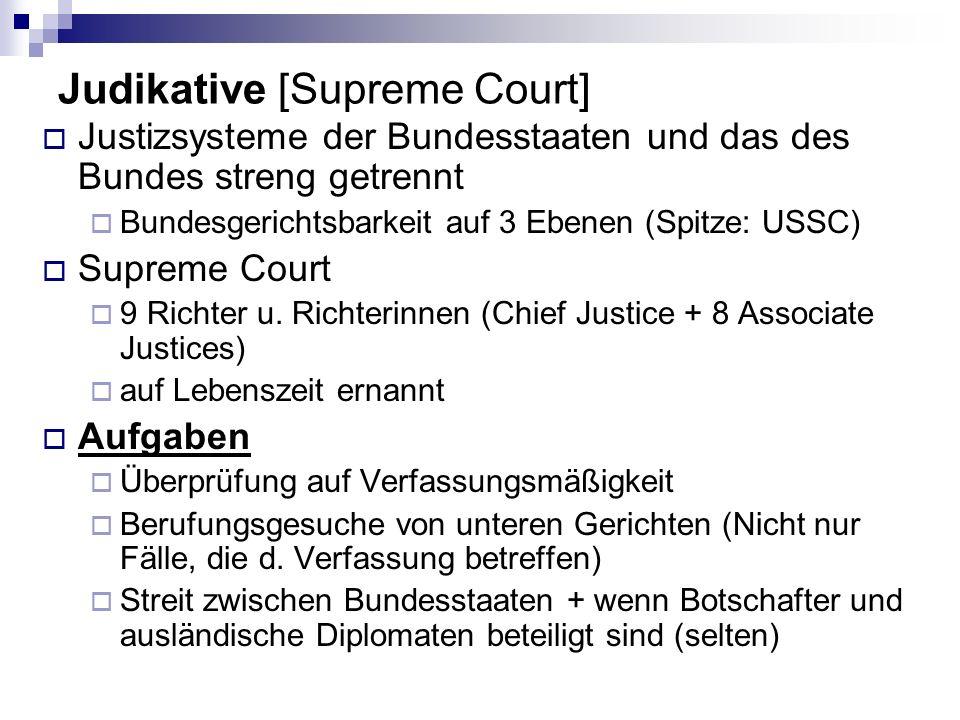 Judikative [Supreme Court] Justizsysteme der Bundesstaaten und das des Bundes streng getrennt Bundesgerichtsbarkeit auf 3 Ebenen (Spitze: USSC) Suprem