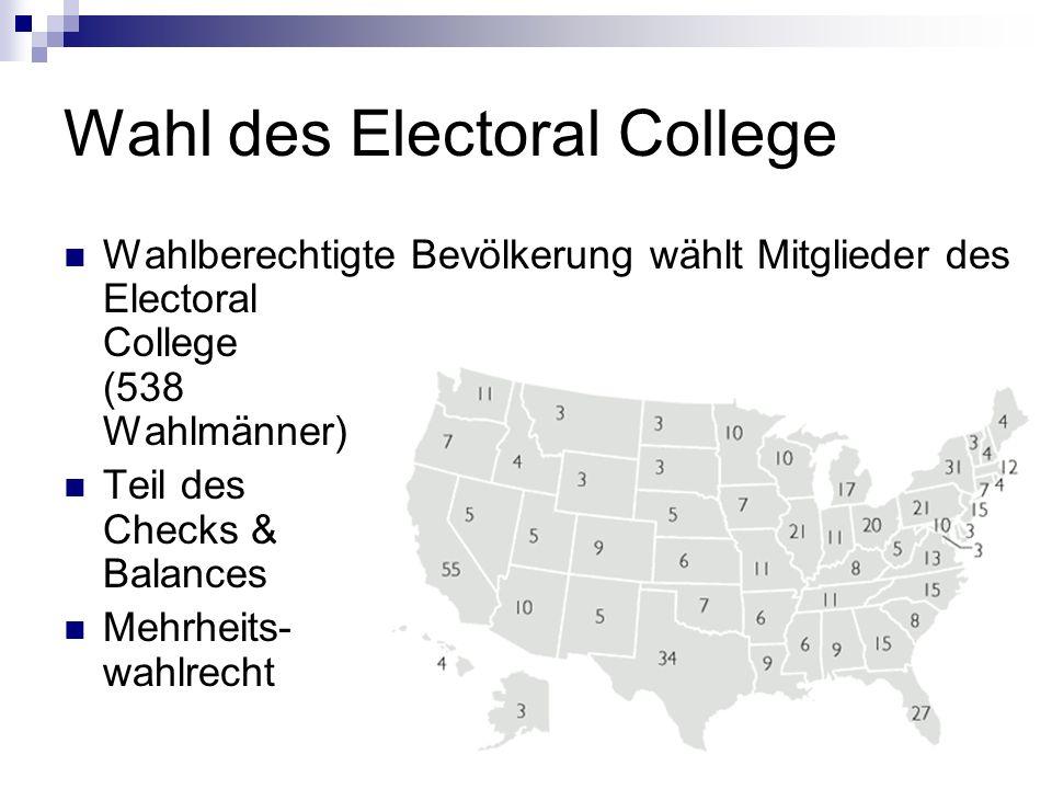Wahl des Electoral College Wahlberechtigte Bevölkerung wählt Mitglieder des Electoral College (538 Wahlmänner) Teil des Checks & Balances Mehrheits- w