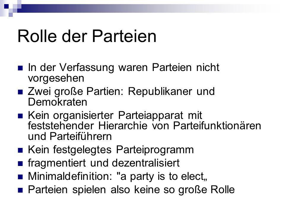 Rolle der Parteien In der Verfassung waren Parteien nicht vorgesehen Zwei große Partien: Republikaner und Demokraten Kein organisierter Parteiapparat