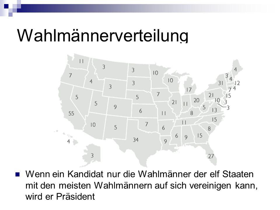 Wahlmännerverteilung Wenn ein Kandidat nur die Wahlmänner der elf Staaten mit den meisten Wahlmännern auf sich vereinigen kann, wird er Präsident