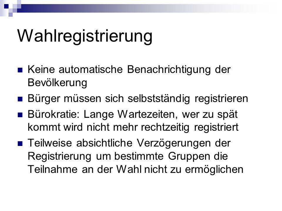 Wahlregistrierung Keine automatische Benachrichtigung der Bevölkerung Bürger müssen sich selbstständig registrieren Bürokratie: Lange Wartezeiten, wer