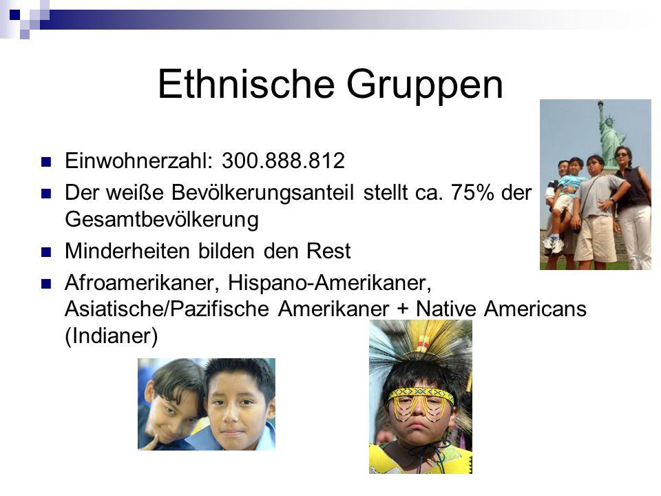 Ethnische Gruppen Einwohnerzahl: 300.888.812 Der weiße Bevölkerungsanteil stellt ca. 75% der Gesamtbevölkerung Minderheiten bilden den Rest Afroamerik