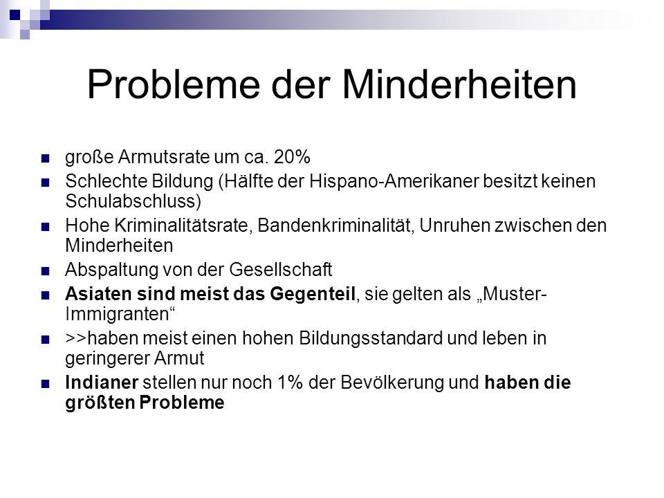 Probleme der Minderheiten große Armutsrate um ca. 20% Schlechte Bildung (Hälfte der Hispano-Amerikaner besitzt keinen Schulabschluss) Hohe Kriminalitä