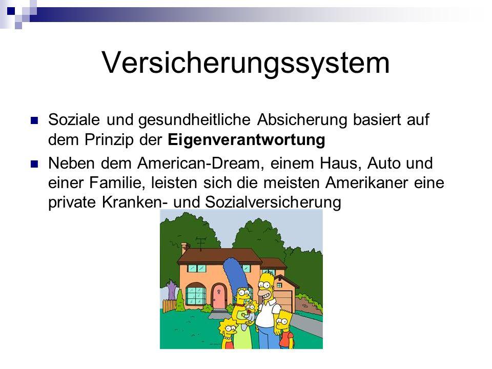 Soziale und gesundheitliche Absicherung basiert auf dem Prinzip der Eigenverantwortung Neben dem American-Dream, einem Haus, Auto und einer Familie, l