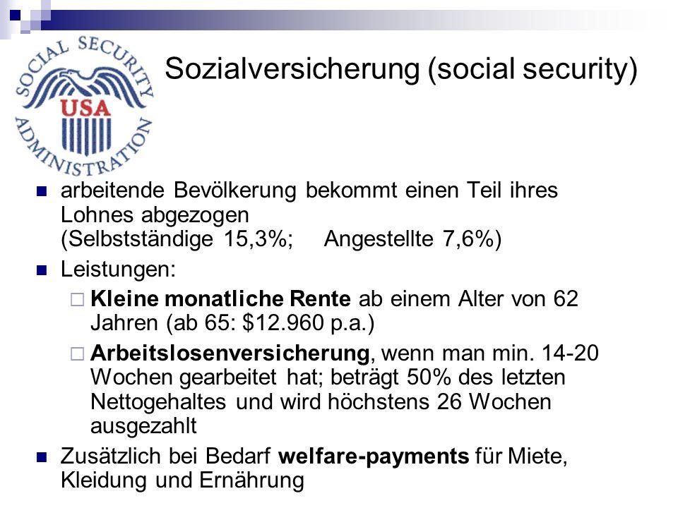 Sozialversicherung (social security) arbeitende Bevölkerung bekommt einen Teil ihres Lohnes abgezogen (Selbstständige 15,3%; Angestellte 7,6%) Leistun
