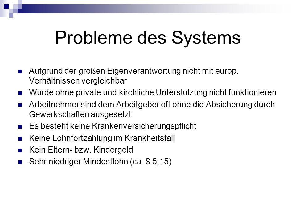 Probleme des Systems Aufgrund der großen Eigenverantwortung nicht mit europ. Verhältnissen vergleichbar Würde ohne private und kirchliche Unterstützun