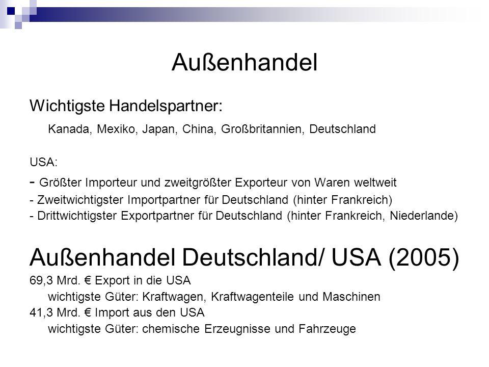 Außenhandel Wichtigste Handelspartner: Kanada, Mexiko, Japan, China, Großbritannien, Deutschland USA: - Größter Importeur und zweitgrößter Exporteur v