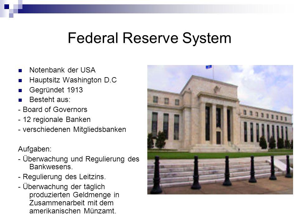 Federal Reserve System Notenbank der USA Hauptsitz Washington D.C Gegründet 1913 Besteht aus: - Board of Governors - 12 regionale Banken - verschieden