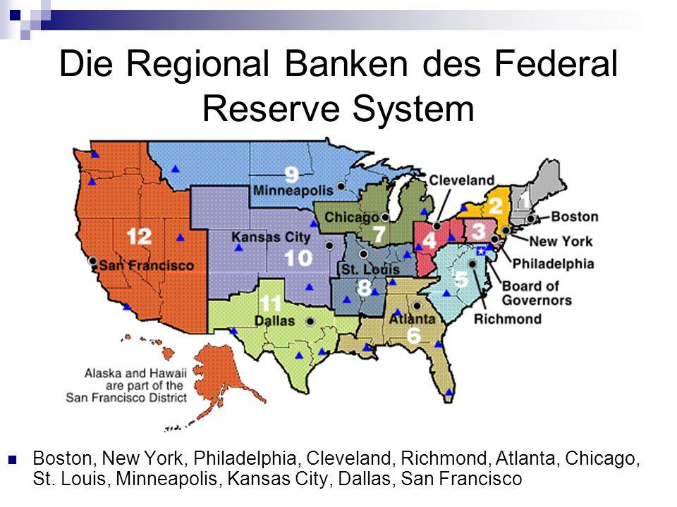 Die Regional Banken des Federal Reserve System Boston, New York, Philadelphia, Cleveland, Richmond, Atlanta, Chicago, St. Louis, Minneapolis, Kansas C