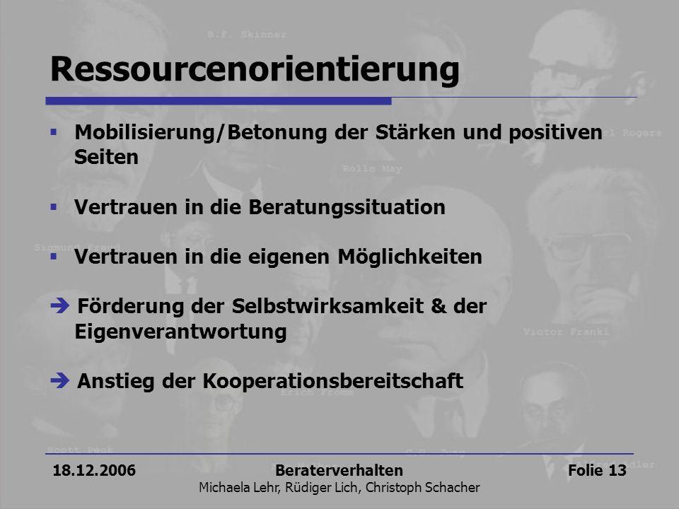 18.12.2006Beraterverhalten Michaela Lehr, Rüdiger Lich, Christoph Schacher Folie 13 Ressourcenorientierung Mobilisierung/Betonung der Stärken und posi