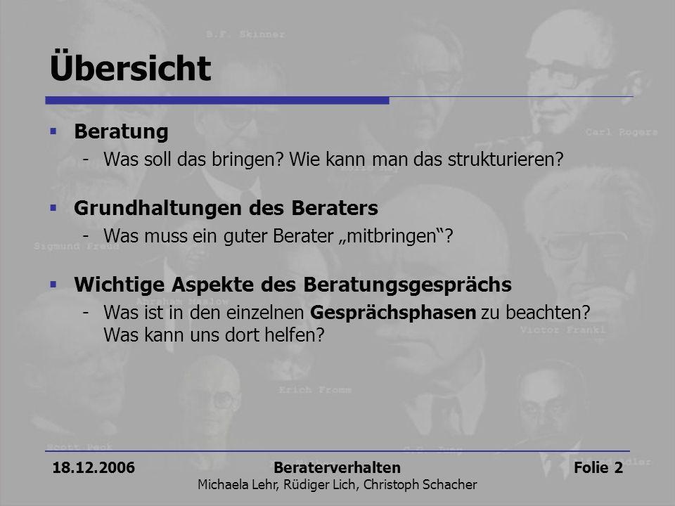 18.12.2006Beraterverhalten Michaela Lehr, Rüdiger Lich, Christoph Schacher Folie 2 Übersicht Beratung -Was soll das bringen? Wie kann man das struktur
