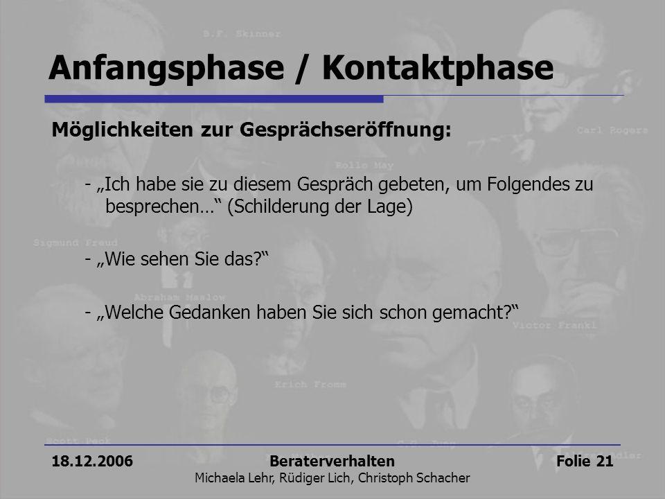 18.12.2006Beraterverhalten Michaela Lehr, Rüdiger Lich, Christoph Schacher Folie 21 Anfangsphase / Kontaktphase Möglichkeiten zur Gesprächseröffnung: