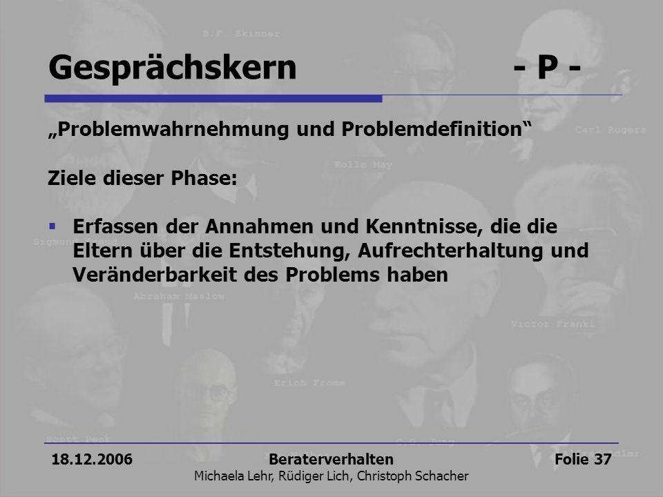 18.12.2006Beraterverhalten Michaela Lehr, Rüdiger Lich, Christoph Schacher Folie 37 Problemwahrnehmung und Problemdefinition Ziele dieser Phase: Erfas
