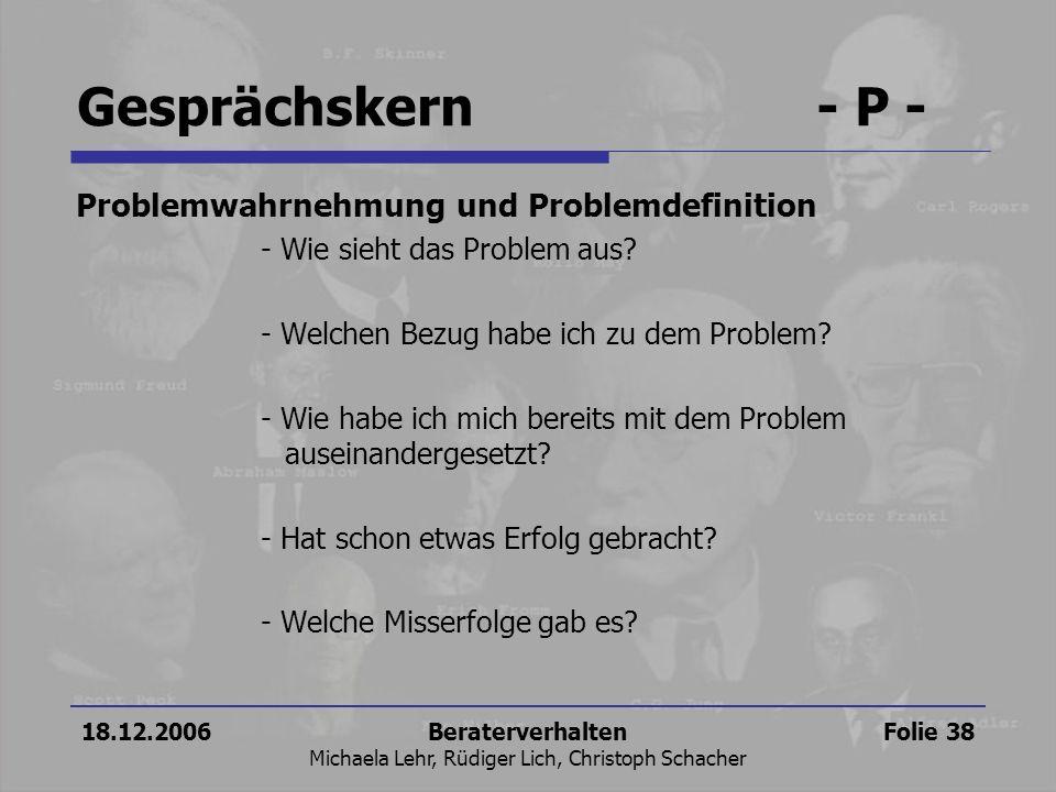 18.12.2006Beraterverhalten Michaela Lehr, Rüdiger Lich, Christoph Schacher Folie 38 Problemwahrnehmung und Problemdefinition - Wie sieht das Problem a