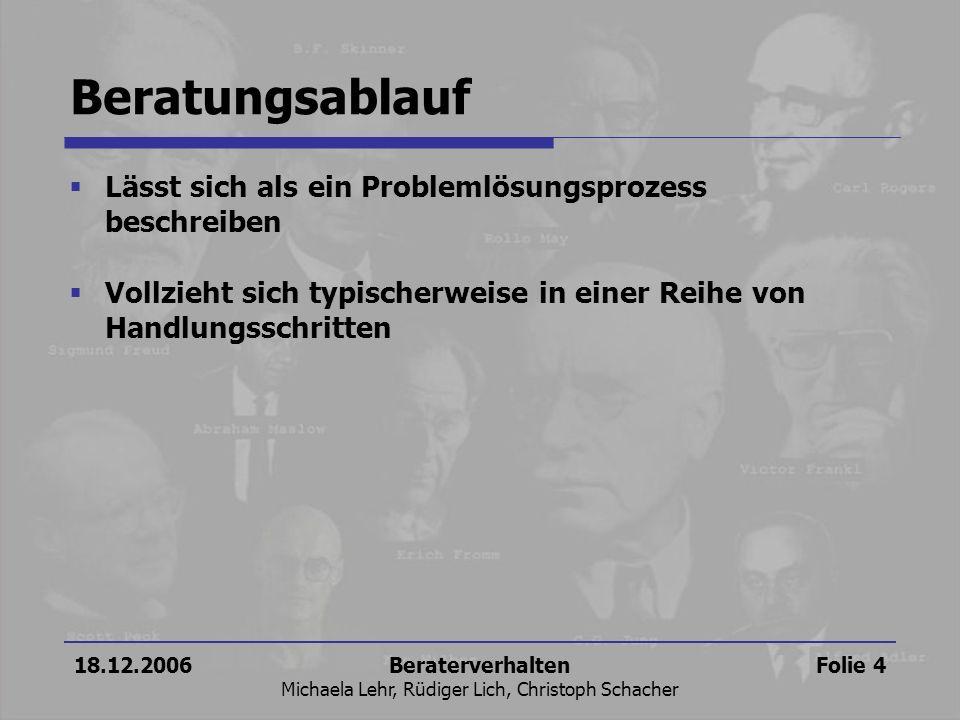 18.12.2006Beraterverhalten Michaela Lehr, Rüdiger Lich, Christoph Schacher Folie 4 Beratungsablauf Lässt sich als ein Problemlösungsprozess beschreibe
