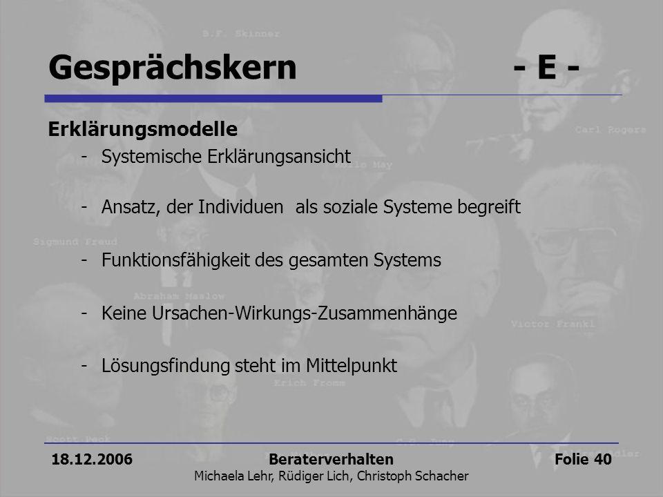 18.12.2006Beraterverhalten Michaela Lehr, Rüdiger Lich, Christoph Schacher Folie 40 Erklärungsmodelle -Systemische Erklärungsansicht -Ansatz, der Indi