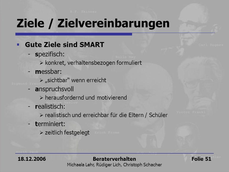 18.12.2006Beraterverhalten Michaela Lehr, Rüdiger Lich, Christoph Schacher Folie 51 Ziele / Zielvereinbarungen Gute Ziele sind SMART -spezifisch: konk