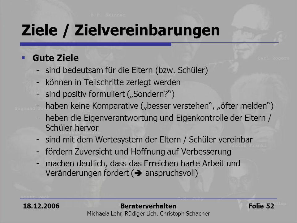 18.12.2006Beraterverhalten Michaela Lehr, Rüdiger Lich, Christoph Schacher Folie 52 Ziele / Zielvereinbarungen Gute Ziele -sind bedeutsam für die Elte