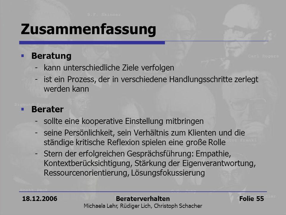 18.12.2006Beraterverhalten Michaela Lehr, Rüdiger Lich, Christoph Schacher Folie 55 Zusammenfassung Beratung -kann unterschiedliche Ziele verfolgen -i