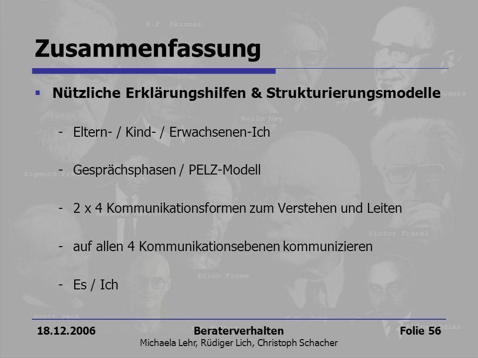 18.12.2006Beraterverhalten Michaela Lehr, Rüdiger Lich, Christoph Schacher Folie 56 Zusammenfassung Nützliche Erklärungshilfen & Strukturierungsmodell