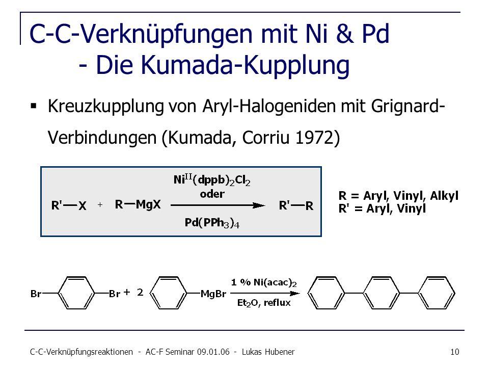 C-C-Verknüpfungsreaktionen - AC-F Seminar 09.01.06 - Lukas Hubener 10 C-C-Verknüpfungen mit Ni & Pd - Die Kumada-Kupplung Kreuzkupplung von Aryl-Halog