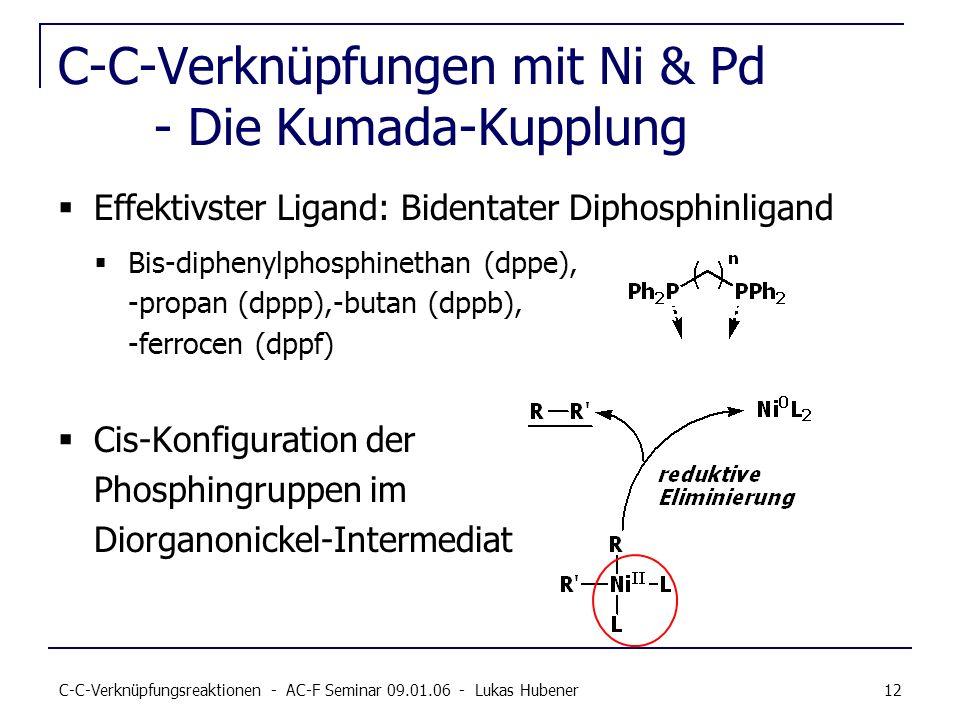 C-C-Verknüpfungsreaktionen - AC-F Seminar 09.01.06 - Lukas Hubener 12 C-C-Verknüpfungen mit Ni & Pd - Die Kumada-Kupplung Effektivster Ligand: Bidenta
