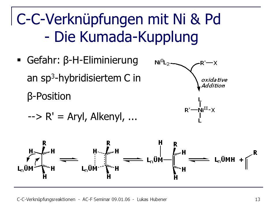 C-C-Verknüpfungsreaktionen - AC-F Seminar 09.01.06 - Lukas Hubener 13 C-C-Verknüpfungen mit Ni & Pd - Die Kumada-Kupplung Gefahr: β-H-Eliminierung an