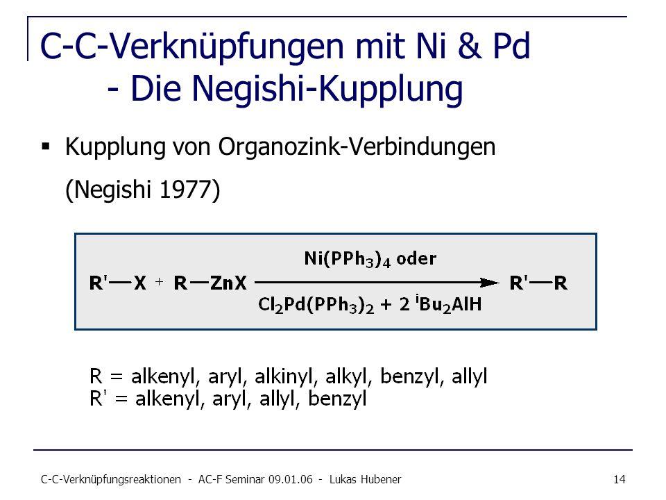 C-C-Verknüpfungsreaktionen - AC-F Seminar 09.01.06 - Lukas Hubener 14 C-C-Verknüpfungen mit Ni & Pd - Die Negishi-Kupplung Kupplung von Organozink-Ver