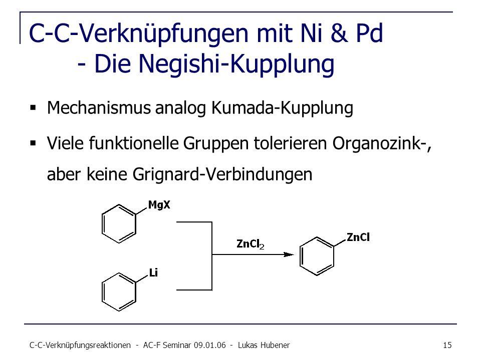 C-C-Verknüpfungsreaktionen - AC-F Seminar 09.01.06 - Lukas Hubener 15 C-C-Verknüpfungen mit Ni & Pd - Die Negishi-Kupplung Mechanismus analog Kumada-K