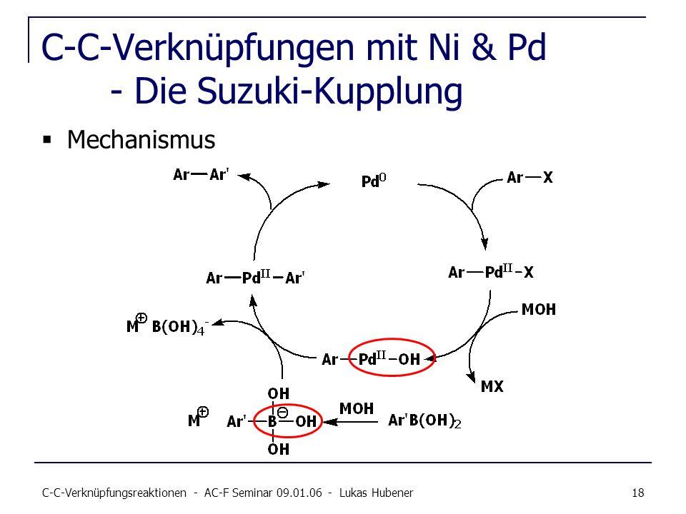 C-C-Verknüpfungsreaktionen - AC-F Seminar 09.01.06 - Lukas Hubener 18 C-C-Verknüpfungen mit Ni & Pd - Die Suzuki-Kupplung Mechanismus