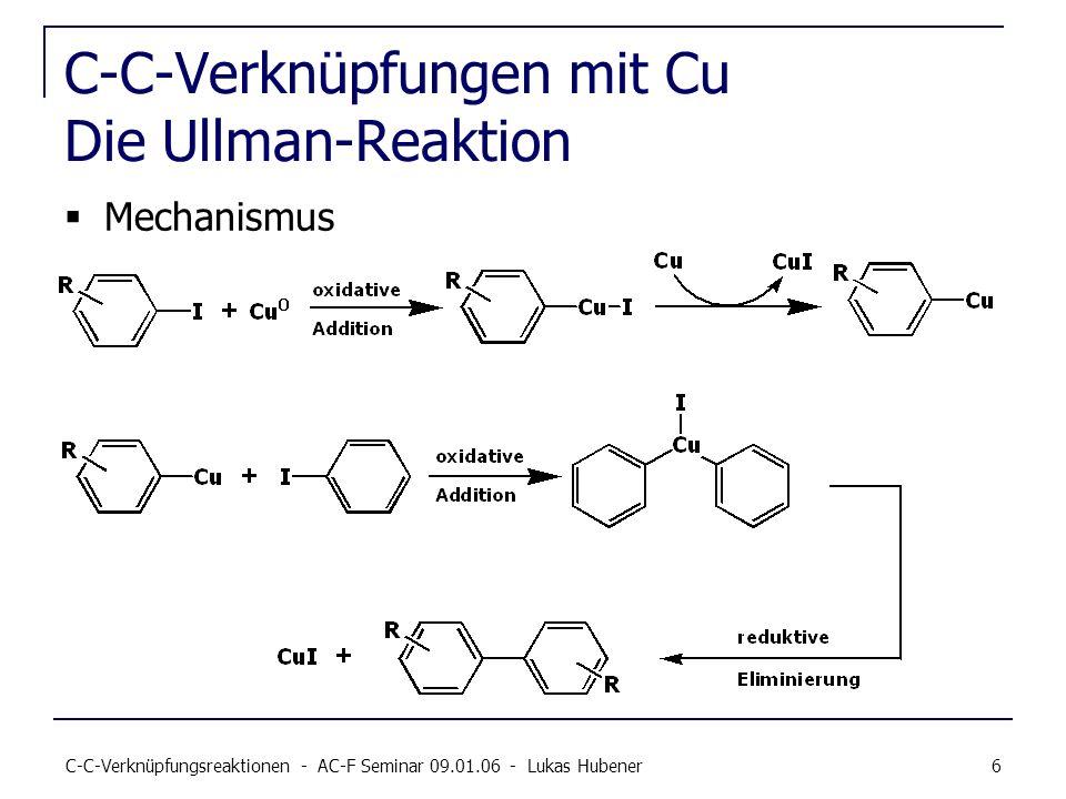 C-C-Verknüpfungsreaktionen - AC-F Seminar 09.01.06 - Lukas Hubener 6 C-C-Verknüpfungen mit Cu Die Ullman-Reaktion Mechanismus