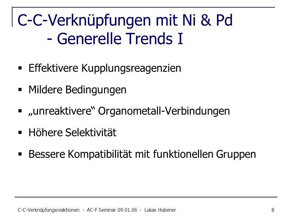 C-C-Verknüpfungsreaktionen - AC-F Seminar 09.01.06 - Lukas Hubener 8 C-C-Verknüpfungen mit Ni & Pd - Generelle Trends I Effektivere Kupplungsreagenzie