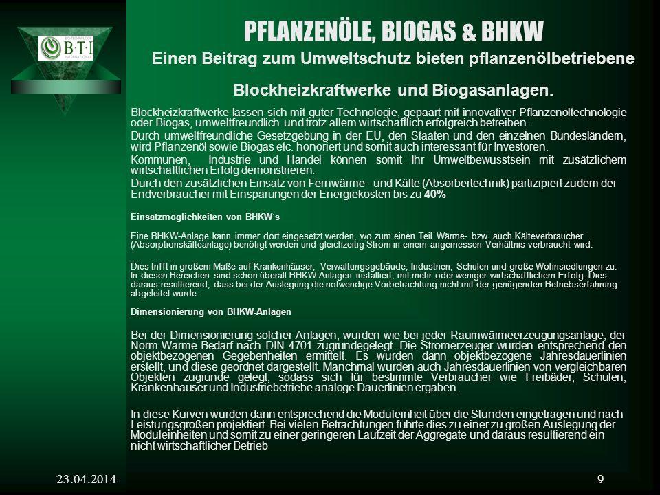 23.04.20149 PFLANZENÖLE, BIOGAS & BHKW Einen Beitrag zum Umweltschutz bieten pflanzenölbetriebene Blockheizkraftwerke und Biogasanlagen.