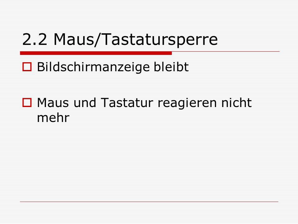 2.2 Maus/Tastatursperre Bildschirmanzeige bleibt Maus und Tastatur reagieren nicht mehr