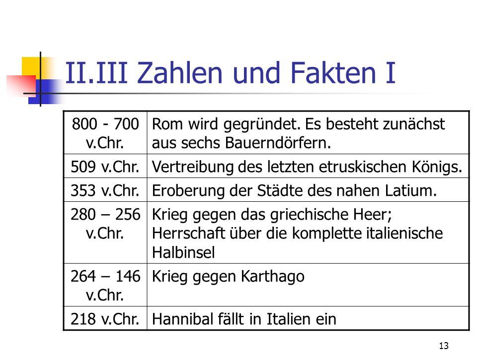 13 II.III Zahlen und Fakten I 800 - 700 v.Chr.Rom wird gegründet.