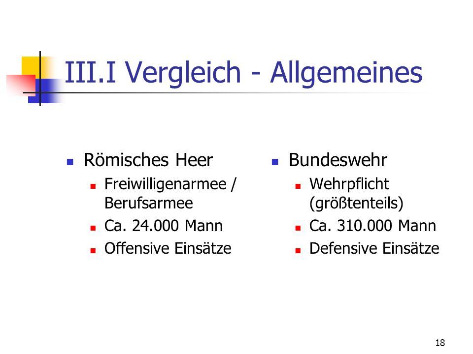 18 III.I Vergleich - Allgemeines Römisches Heer Freiwilligenarmee / Berufsarmee Ca.