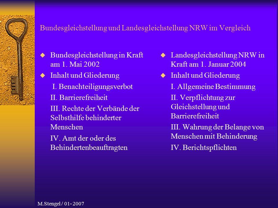 M.Stengel / 01- 2007 Bundesgleichstellung und Landesgleichstellung NRW im Vergleich Weitere Informationen aus dem Internet sind zu erhalten: http://www.behindertenbeauftragter.de/index.php5 Sehr viel mit Gebärdenvideos eingegeben und leicht verständlich Ein Beispiel: http://www.lebenmitbehinderungen.nrw.de/ Ebenfalls mit Gebärdenvideos eingegeben.