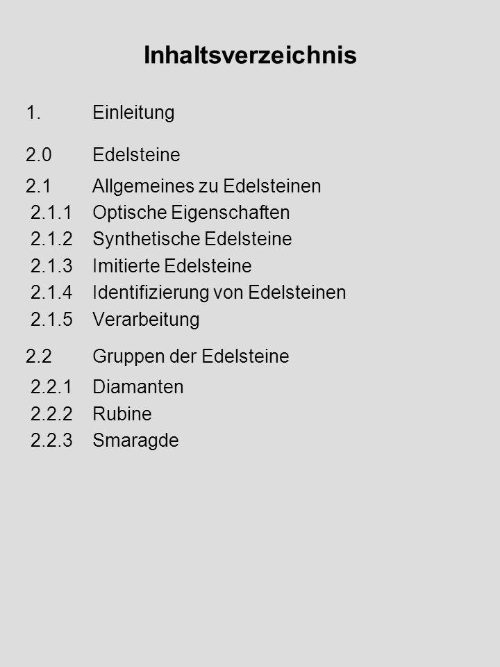 Inhaltsverzeichnis 1.Einleitung 2.0Edelsteine 2.1Allgemeines zu Edelsteinen 2.1.1Optische Eigenschaften 2.1.2Synthetische Edelsteine 2.1.3Imitierte Ed