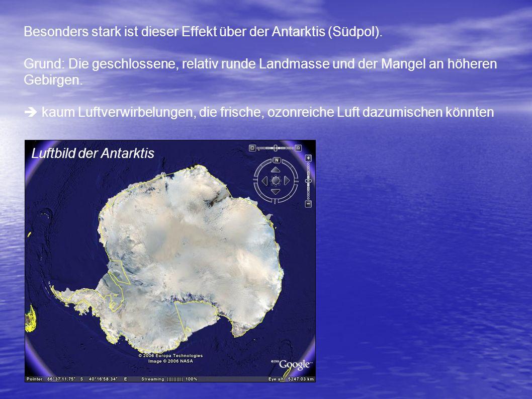 Voraussetzungen für Entstehung des Ozonlochs Polarwinter / Polarnacht: Aus der mangelnden Sonneneinstrahlung resultiert eine starke Temperaturabnahme.